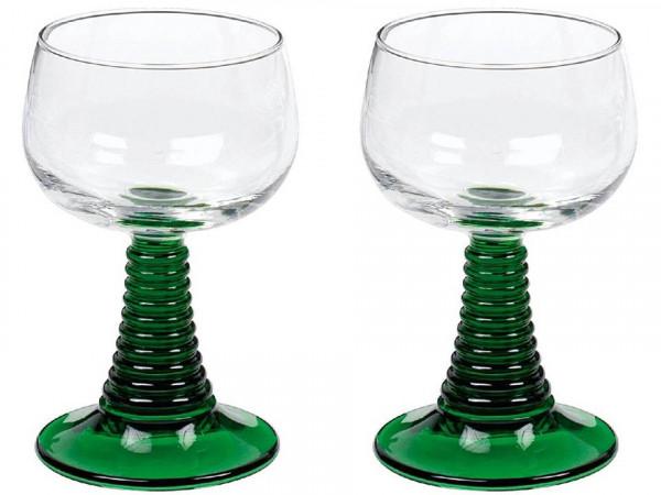 Weinrömer mit grünem Stiel, 2 Stück