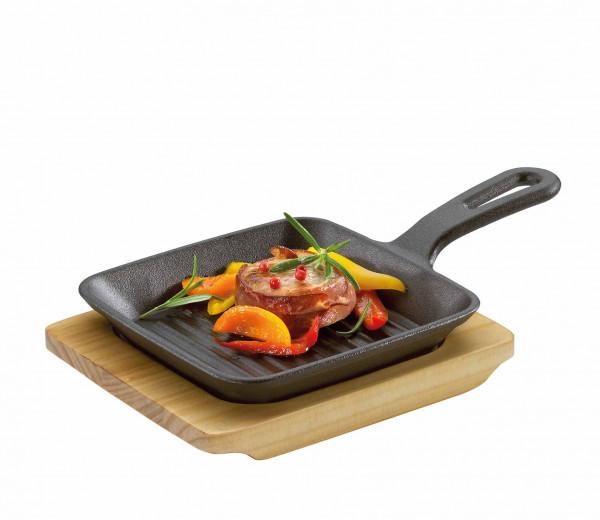 KÜCHENPROFI Gusseisen Grillpfännchen mit Holzbrett