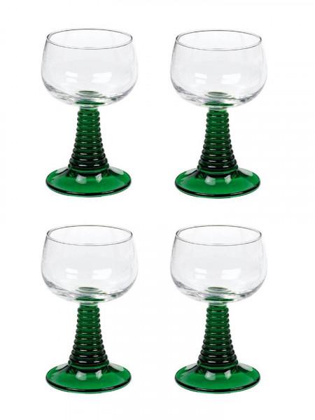 Weinrömer mit grünem Stiel, 4 Stück