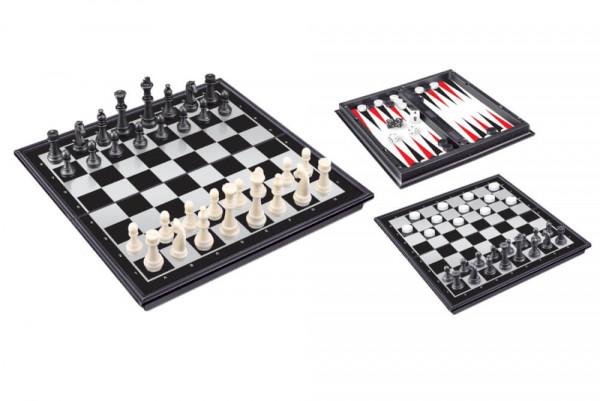 VEDES 3-in-1 Magnetspiel Backgammon-Schach-Dame